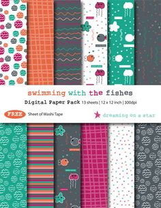 Kawaii Digital Scrapbook Paper Pack, Fish Scrapbook, Sea Scrapbook, Cute Scrapbook, INSTANT DOWNLOAD, Free Washi Tape, Commercial Use