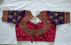 Latest saree blouse back neck designs - Simple Craft Ideas Wedding Saree Blouse Designs, Blouse Back Neck Designs, Fancy Blouse Designs, Latest Saree Blouse, Mirror Work Blouse, Designer Blouse Patterns, Designer Dresses, Blouse Models, Ppr