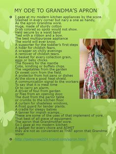 """My Ode to Grandma's Apron"""