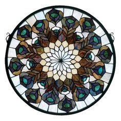 Meyda Tiffany Tiffany Peacock Feather Medallion Stained Glass Window
