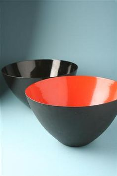Enamelled steel bowls designed by Herbert Krenchel for Krenit, Denmark, 1950s.