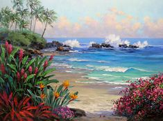 Secret Cove by Mikki Senkarik, a wallpaper wall mural from Magic Murals. Please call us for help selecting the right material for your custom wall mural. Watercolor Landscape, Landscape Art, Landscape Paintings, Nature Paintings, Pintura Exterior, Tropical Art, Seascape Paintings, Canvas Paintings, Watercolor Paintings