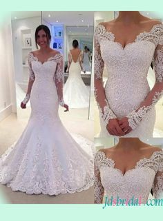 Sexy sheer back illusion long sleeved lace mermaid wedding dress