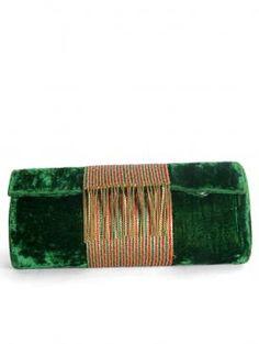Buy Online Vibrant green clutch by Falah - 2014