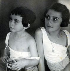Anne and Margot Frank, 1933, Aachen, Germany.