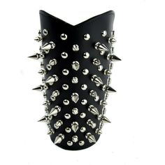 Tree Spike and Round Stud Armband Leather Wristband Gauntlet... (2.985 HUF) ❤ liked on Polyvore featuring jewelry, bracelets, spike bangle, wristband jewelry, leather bangles, wide bangle and armband jewelry
