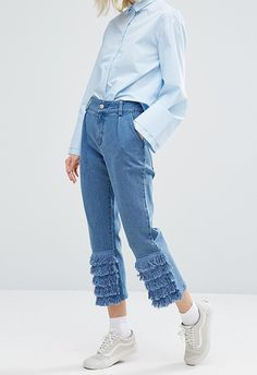 I Love Friday mom jeans with frill trim available at ASOS | ASOS Fashion & Beauty Feed