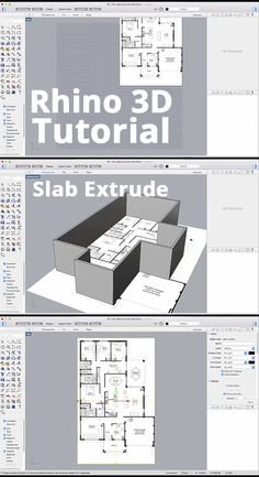 The best way to get architectural plans up and running is the Slab Extrude Command. Importing the plans as a pictureframe and extruding the walls can get . Rhino Architecture, Architecture Portfolio Examples, Architecture Program, Revit Architecture, Architecture Student, Rhino Render, Rhino Software, Rhino Cad, Rhino Tutorial