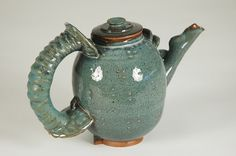 Teapot organic blue  big comfortable handle by cwallardo