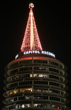Capitol Records building by night. Los Angeles, California