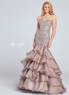 Prom Dresses 2017 - Ellie Wilde for Mon Cheri - Bronze Beaded Prom Dress with Multi-Tiered Skirt - Style No. Mermaid Gown Prom, Beaded Prom Dress, Mermaid Dresses, Strapless Dress Formal, Strapless Organza, Formal Gowns, Mermaid Skirt, Prom Dresses 2017, Grad Dresses