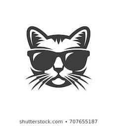 Cat in sunglasses Trippy Cat, Stencils, Image Svg, Graffiti, Cat Clipart, Cat Sunglasses, Silhouette Images, Cat Logo, Cat Design