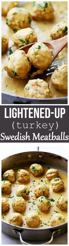 Lightened-Up Turkey Swedish Meatballs Recipe - Homemade turkey meatballs smothered in a light, yet very delicious gravy sauce.
