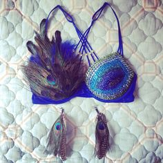 Bedazzled peacock bra for Counterpoint 2014 made by yours truly