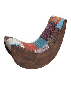 Brown & Blue Quilted Rocking Chair | zulily