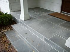 Tile Over Concrete Porch . Tile Over Concrete Porch . the Smart Momma Spray Painted Faux Stones On Concrete Patio Stone Patio Designs, Concrete Patio Makeover, Front Door Steps, Patio Makeover, Front Porch Steps, Porch Tile, Patio Tiles, Porch Flooring, Porch Design