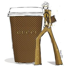 This morning I'm feeling a 70's vibe.....Gold flared suit with a creamy GUCCI latte!