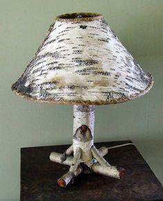 Rustic Adirondack Camp Birch Bark Table Lamp