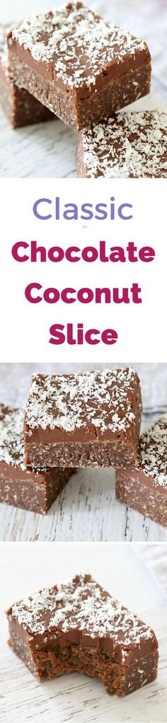 Make this Easy Chocolate Coconut Slice in no time at all - simply melt mix! Conventional and Thermomix instructions included. Köstliche Desserts, Delicious Desserts, Dessert Recipes, Yummy Food, Chocolate Coconut Slice, Cocoa Chocolate, Baking Recipes, Cookie Recipes, Yummy Treats
