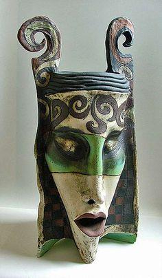Inna-Olshansky---ceramic-face vase or mask Ceramic Mask, Ceramic Painting, Ceramic Artists, Porcelain Ceramics, Ceramic Pottery, Pottery Art, Fine Porcelain, Porcelain Tiles, China Painting