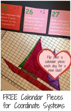 Help your students with coordinate systems with this fun calendar component. Each day will provide a clue, and by the end of the month your students will have created a picture.