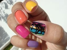 palm tree+skittle mani