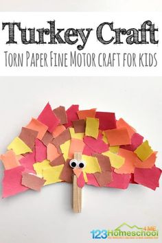 Torn Paper Turkey Craft - SUPER CUTE, simple, and fun-to-make turkey craft for kids. This is great for toddler, preschool, or kindergarten age kids for Thanksgiving or the month of November Thanksgiving Crafts For Toddlers, Crafts For Kids To Make, Kids Crafts, Thanksgiving Decorations, Halloween Crafts For Preschoolers, Easy Toddler Crafts, Craft Projects For Kids, Thanksgiving Desserts, Halloween Decorations