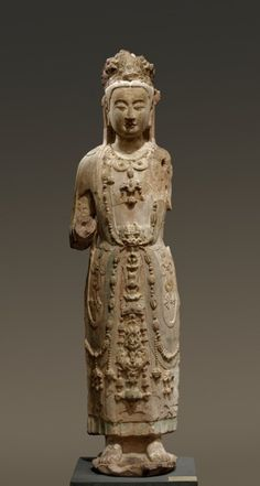 Bodhisattva Guanyin, late China, late Northern Qi or early Sui dynasty sandstone with polychromy, Overall: x x cm x 15 x 10 inches) Buddha Artwork, Stone Age Art, Buddha Life, Chinese Embroidery, Guanyin, Buddhist Art, Sculpture, Ancient Civilizations, Types Of Art