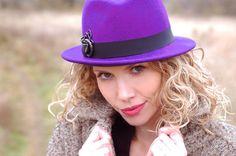 trilby hat purple wool felt