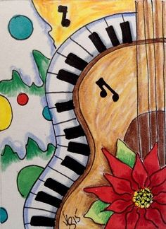 "Aceo  Original  ATC OOAK    ""CHRISTMAS MUSIC""   pencil/ink  #OutsiderArt"
