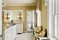 Dressing Room Design Ideas, Pictures, Remodel, and Decor - page 18 Dressing Room Design, Dressing Rooms, Dressing Table, Dressing Area, Yellow Interior, Wardrobe Design, Traditional Bedroom, Living Room Inspiration, Design Inspiration