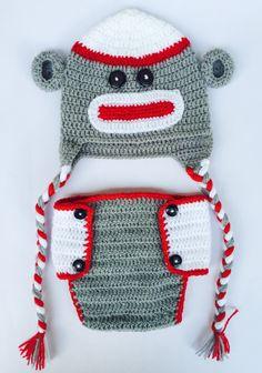 Sock Monkey Diaper Set by MyHighKnit on Etsy