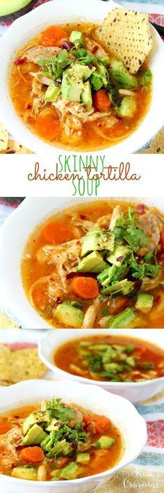 Serves cups for 210 calories. This skinny chicken tortilla soup is as clean as they come, but don't worry just because it lacks many calories, it is not lacking in flavor one little bit! Clean Eating Recipes, Healthy Eating, Cooking Recipes, Clean Eating Soup, Healthy Fit, Healthy Meals, Mexican Food Recipes, Dinner Recipes, Skinny Chicken