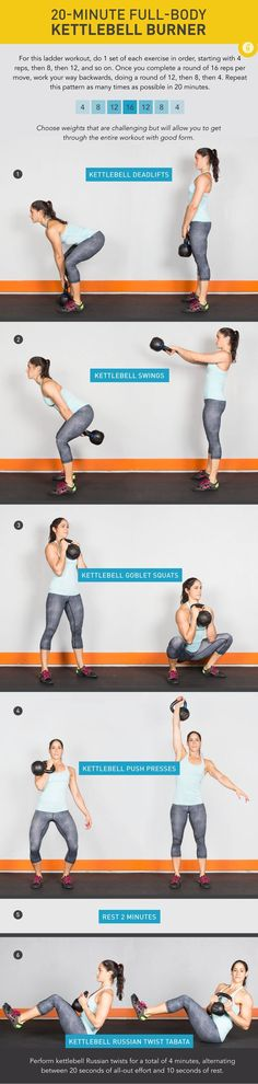 20 Minute Full-Body Kettlebell Burner Feel the burn (and love it!) with this total-body kettlebell workout. #workout #fitness #kettlebell #greatist