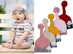 Cute Toddler Unisex Baby Girls Kids Knit Tail Hat Rabbit Crochet Cap Beanie