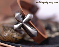 Silver tone specially cross Zinc Alloy charm Brown ox genuine leather bracele,1016. $2.39, via Etsy.