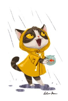 Pink Supervisor — celine-kim: Raincoat animals My favorite. Illustration Inspiration, Children's Book Illustration, Illustrations, Lapin Art, Cat Character, Cat Drawing, Totoro, Cat Art, Concept Art