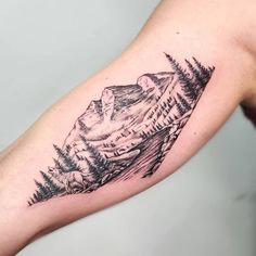 101 Amazing Mountain Tattoo Ideas You Need To See! Mountain Sleeve Tattoo, Geometric Mountain Tattoo, Mountain Range Tattoo, Mountain Tattoo Design, Tatoo Nature, Nature Tattoo Sleeve, Mother Nature Tattoos, Sleeve Tattoos, Forest Tattoo Sleeve