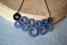 Blue Bubbles Crochet Necklace Bib by LavenderField on Etsy, $39.00