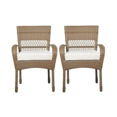 Martha Stewart Living Charlottetown Natural Patio Dining Chair With Bare  Cushion (2 Pack)