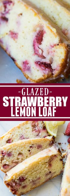 Glazed Strawberry Lemon Loaf!  This easy to make loaf cake is loaded with lemon flavor thanks to fresh juice and zest.  Plus there's sweet and juicy strawberries baked right in!  All topped with a decadent drizzle of a lemon glaze.  This bright and sweet loaf cake will be the highlight of your day!