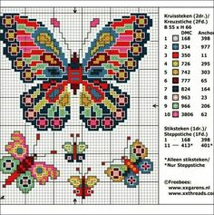 56 ideas for embroidery patterns free needlework cross stitch Cross Stitch Animals, Cross Stitch Kits, Cross Stitch Charts, Cross Stitch Designs, Cross Stitch Patterns, Embroidery Flowers Pattern, Embroidery Patterns Free, Butterfly Cross Stitch, Butterfly Pattern