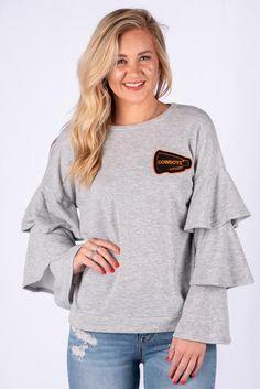 f78b673819 OSU Cowboys letterman ruffle sleeve pullover grey