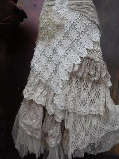 wedding skirt,tattered skirt, stevie nicks, bohemian skirt, boho skirt, gypsy skirt, lagenlook skirt,OAK, shabby mermaid wrap skirt..  she,s an absolutely gorgeous bohemian wrap around shabby skirt in ivory and beige hues kissed with cotton brodereie anglaise,assorted bridal laces,beaded bridal decals,netting,rose trims,crochet,butterflies and shabby detail with roses where she ties giving her a shabby chic feel.....these pieces are works of art and sell way below their worth so grab…