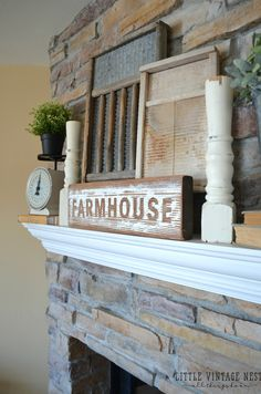 Farmhouse Mantel with vintage washboards and old scale