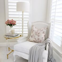 Chairs for Bedroom Sitting area. Chairs for Bedroom Sitting area. See A Traditional Gray Bedroom Sitting area with A Neutral Gold Floor Lamp, White Floor Lamp, Bedroom Furniture, Home Furniture, Bedroom Decor, Bedroom Ideas, Gray Bedroom, Trendy Bedroom, White Bedroom Chair