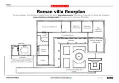 A Roman Villa floor plan to look at and color! Ancient Roman Houses, Ancient Rome, Ancient Greece, Rome Activities, Tapestry Of Grace, Ancient World History, House Template, Roman History, House Layouts