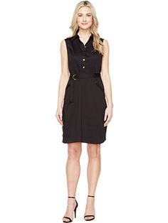 Ellen Tracy Cotton Fit & Flare Dress with Collar
