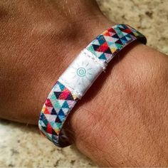 This colorful triangle Bright Band is one of our customers favorites. Unlike those loose & uncomfortable silicon wristbands, our bracelets were designed to fit snug but comfortable on the wrist. We use an elastic/cotton blend that allows for a soft and smooth feel all day long! Buy one now at www.brightbands.com