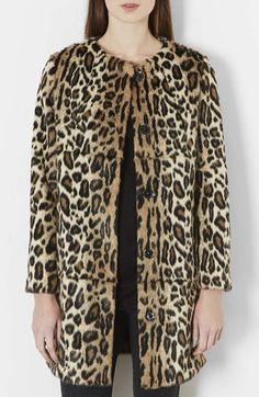 Topshop  Leopard Print Faux Fur Coat